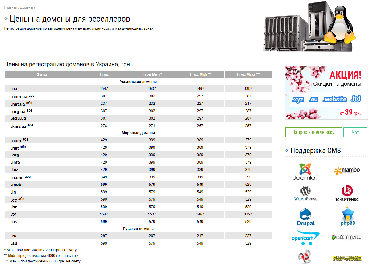 Регистрация доменов UH.ua для реселлеров